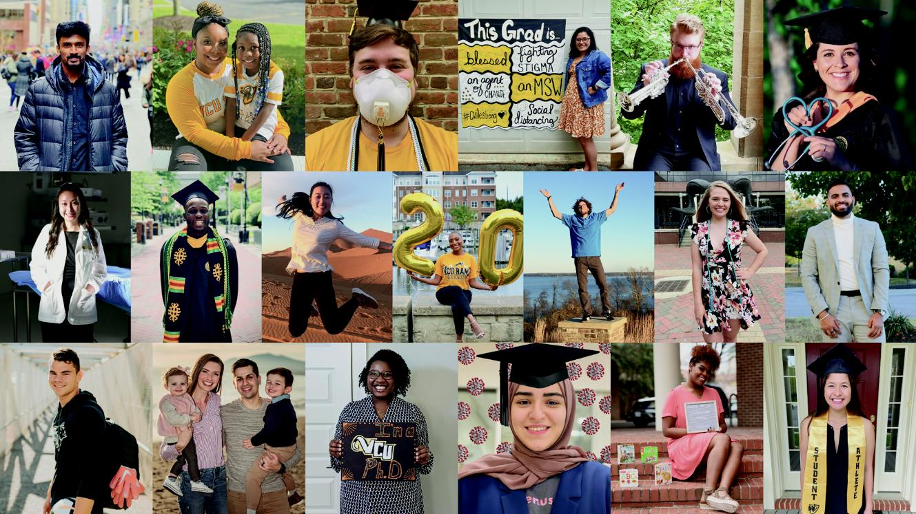 A collage of VCU 2020 graduate photos submitted to celebrate virtual commencement